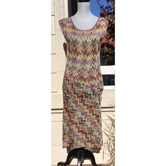 Missoni Dresses & Skirts - MISSONI VINTAGE MULTI-COLOR CHEVRON KNIT DRESS